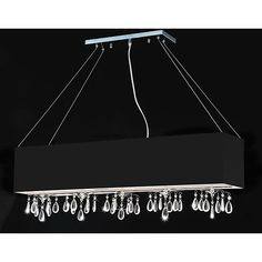 This modern rectangular crystal chandelier is a trendy alternative to the familiar round fixtures found in many homes. Bold black chrome and dazzling pieces of crystal ensure that this beautiful chandelier is not ignored by visitors.