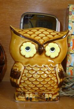 Vintage owl napkin holder that I turned into a charging station.