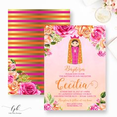 Baptism Girl Invitation, Virgin Mary Baptism Invite, Saint, Roses, Orange and Hot Pink Baptism Invite, Mexican Baptism by LillysPartyBoutique on Etsy https://www.etsy.com/listing/535395045/baptism-girl-invitation-virgin-mary