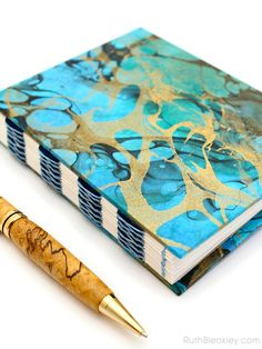 Marbled Journal gold/blue/magenta/green French Link 144