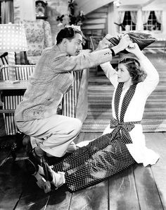 William Powell and Myrna Loy in a deleted scene of Libeled Lady (1936)