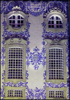 Portugal at night, tile facade