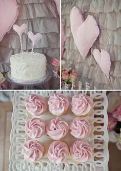 LOVELY MILK & COOKIES BIRTHDAY PARTY IN PINK AND GRAY: The Cake & treats
