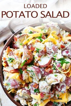 Loaded Potato Salad made with creamy red potatoes, thick-cut bacon, and Cheddar tossed in ranch dressing impresses your guests with every single bite! #loadedpotatosalad #potatosalad #potatorecipes #potatoes #redpotatoes #sidedish Kitchen Recipes, Cooking Recipes, Healthy Recipes, Skillet Recipes, Cooking Gadgets, Healthy Food, Loaded Baked Potato Salad, Sweet Peppers Potato Salad Recipe, Creamy Potato Salad