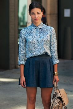 printed buttonup and denim skirt or switch for blue skirt if too casual for work