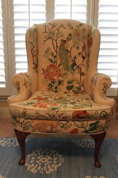 Vintage Anthropologie Style Crewel Wing Chair by houseofpemberley