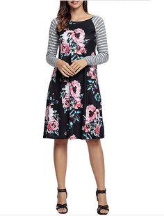 cc70e2e5764 Women s Floral Print Casual Long Sleeve A-line Loose T-shirt Dresses Knee  Length. Ladies Plus Size ...