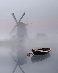 Fog, windmill, and boat. Landscape Art, Landscape Photography, Nature Photography, Travel Photography, Misty Day, Float Your Boat, Old Boats, Beautiful World, Mists
