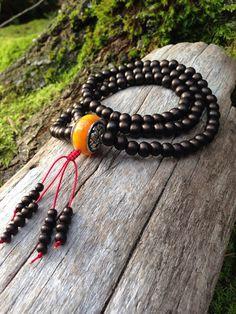 Tibetan Amber Copal w/ Repousse Auspicious Tibetan Silver and Bone Buddhist Mala Prayer Bead Necklace 108 on Etsy, $20.00