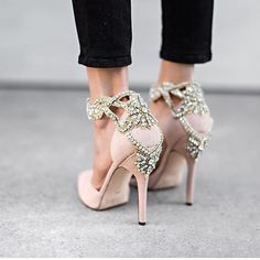 Currently obsessing over these bejewelled nude beauties by @aminahjillil This is a pair of wedding shoes that would be worn again and again and again...any excuse really! Love them :two_hearts: Regram via @hellofashionblog #AminahJillil #weddingshoes #sh