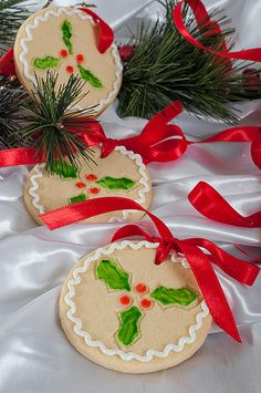 Christmas Cookies.  Holly design on a round cookie.