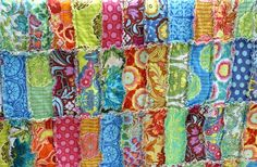 "rag quilt - great colors/patterns (this quilt is not ""rag"" on the back)"