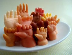 really creepy little soaps. Imagine washing your hands with another little hand. Not actual doll parts, but a nice addition if you are doing a lot with creepy doll decor. Baby Hands, Hand Shapes, Cool Stuff, Funny Stuff, Funny Things, Random Things, Scary Things, Awesome Things, Random Stuff