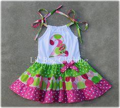*Custom Boutique Clothing Personalized Pink And Lime Dots Strawberry Shortcake Tiered Knit Dress. *Choose any initial or number of your choice. *Available in sizes 12 18 24 6 7 girl. Baby Outfits, Little Girl Dresses, Kids Outfits, Girls Dresses, Bug Clothing, Boutique Clothing, Birthday Girl Dress, Birthday Dresses, Baby Sewing