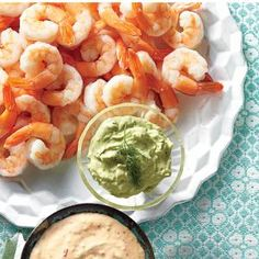 Contemporary Shrimp Cocktail RecipeRevive this party staple by setting out a bountiful platter of shrimp with three bowls of zingy new sauces: Avocado Cream, Tequila-Lime Cocktail Sauce, and Ginger Rémoulade. Best Party Appetizers, Seafood Appetizers, Finger Food Appetizers, Holiday Appetizers, Easy Appetizer Recipes, Seafood Recipes, Party Snacks, Finger Foods, Seafood Dishes