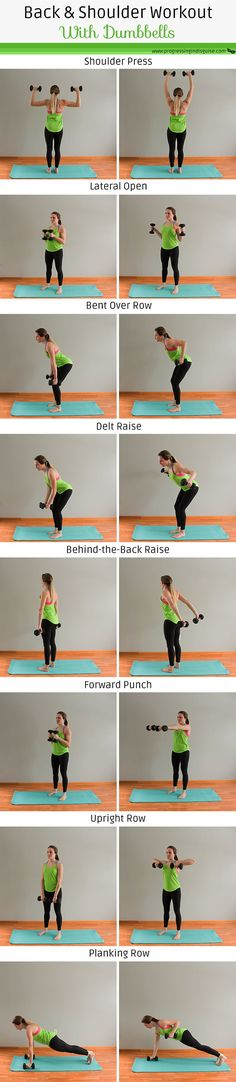 and Shoulder Workout with Dumbbells - Great back and shoulder workout! These are great exercises to lose back fat and tone up your upper body. You'll carve out some serious definition with this back and shoulder dumbbell workout Home Exercise Routines, Abs Workout Routines, Gym Workouts, At Home Workouts, Shoulder Dumbbell Workout, Back And Shoulder Workout, Traps Workout, Lose Back Fat, Six Pack Abs Workout