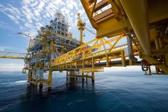 An offshore oil and gas drilling platform.