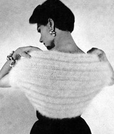 Bunny Hug Shrug knit pattern from Stoles & Shrugs, originally published by Spinnerin Yarn Co, Volume No. 122, in 1953.
