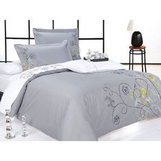 yellow and grey comforters