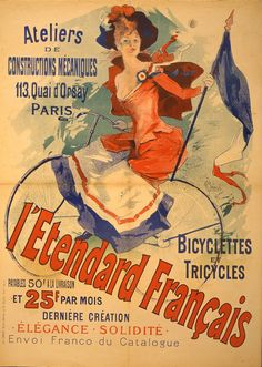 velo-cycle-publicite-affiche-poster-ancien - La boite verte (pin by LauChansArt) Vintage Advertising Posters, Vintage Advertisements, Vintage Posters, Ads, Vintage Labels, Tricycle, Illustration Photo, Illustrations, Quai Paris