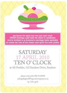 love the wording on this invite~ Pickles and Ice Cream Shower~ So Cute and Unique for a Baby Shower! Don't forget personalized napkins for your shower! www.napkinspersonalized.com