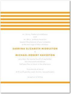 Modern stripes invite in orange