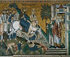 Christ's Entry into Jerusalem / Entrada de Cristo a Jerusalén // 1140-1170 // Mosaic / Sanctuary, south wall (detail) / Cappella Palatina, Palermo // #Jesus