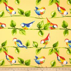 Richloom Solarium Outdoor Curious Birds Soleil from Vintage Patio, Fabric Birds, Wall Fabric, Kinds Of Birds, Outdoor Fabric, Indoor Outdoor, Decorative Pillow Cases, Home Decor Fabric, Fabric Wallpaper