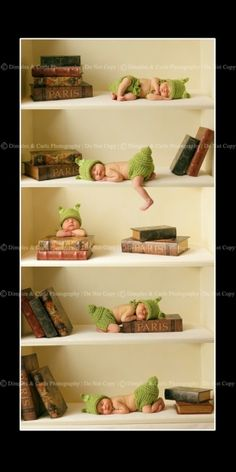 This image showcases two of my favorite smells: babies and books!