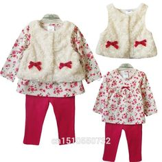 Retail 2018 new style baby girl's set spring autumn winter clothing set tops+pans+vest kids clothes sets baby girl clothes Baby Outfits, Newborn Outfits, Toddler Girl Outfits, Baby Girl Dresses, Baby Dress, Baby Girls, Newborn Clothing, Infant Girls, Tops For Leggings