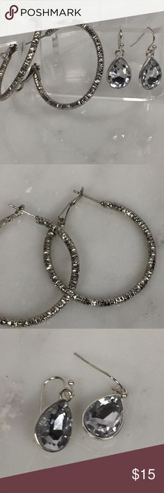 Night on the Town Earrings Silver tone hoops that have been cut to give the look of diamond. Lightweight for ease of wearing  New on card large tear drop shaped faceted crystals with silver tone back.  Long fish hook.  Please see pictures for length and width. Jewelry Earrings