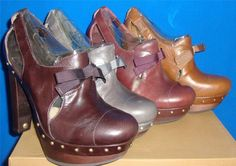 UGG Australia CELESTINA Chestnut,Charcoal, Rum, Stout Leather High Heels Sz 6-8 #UGG #PlatformsWedges