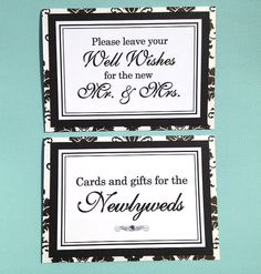 5x7 Tent Folded Wedding Sign Package in Black and White Damask by WeddingsBySusan, $13.00