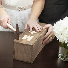 Make your own custom wine box to seal during your ceremony with a special bottle of wine to open on your anniversary! EASY blueprint!