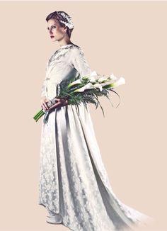 #ramo de novia #vintage de callas naturales y empuñadura de greca de cristales de #strass