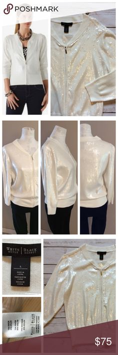 """WHBM sequin sweater jacket This sweater is stunning and pictures don't capture its beauty! White full zip up sweater with all-over white sequins. 3/4 sleeves, v-neck.  Wide ribbing at sleeves and waist. NWOT, superb condition. Size L, 19"""" chest and 24"""" total length. White House Black Market Tops"""