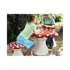Kids Garden Furniture Seating Stools Play Chair Table Set Mushroom Fairytale Fun  sc 1 st  Pinterest & Mushroom Table and Chairs Childrens Novelty Garden Furniture Pixie ...