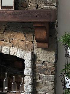 Hang A Wood Mantel On A Stone Fireplace - hängen sie einen holzmantel an einen steinkamin - accrochez un manteau de bois sur une cheminée en pierre Wood, Rustic Stone, Rock Fireplaces, Rustic Fireplaces, Stacked Stone Fireplaces, Wood Fireplace, Wood Mantels, Fireplace, Stone Veneer Panels