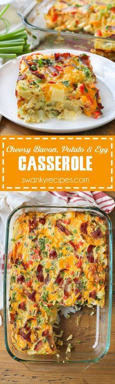 Cheesy Bacon, Potato and Egg Casserole - Quick, easy and packed full of flavor. This breakfast casserole recipe is just what your morning needs! Made with fresh vegetables, crispy bacon, cheese and eg(Breakfast Recipes Casserole) Breakfast For Dinner, Breakfast Dishes, Breakfast Time, Breakfast Casserole, Best Breakfast, Breakfast Recipes, Breakfast Potatoes, Breakfast Ideas, Brunch Ideas