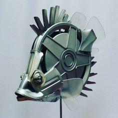 Leaf Fish 100% reclaimed materials sculpture.