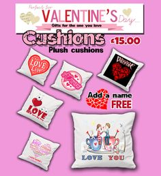 Custom printed Cushions for Valentines day. www.pinkpigprint.com