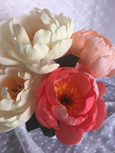 Crepe Paper Flower Coral Charm Peony Handmade by PinkCherryMama. Makes a great everlasting wedding bouquet!!