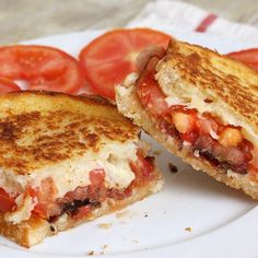 Garlic-Rubbed Grilled Cheese with Bacon and Tomatoes Recipe | Just A Pinch Recipes