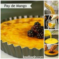 Receta de Pay de Mango al Horno paso a paso. Mango Recipes, Fruit Recipes, Cheesecake Recipes, Pie Recipes, Recipies, Brownie Desserts, Sweet Desserts, Delicious Desserts, Cocina Natural