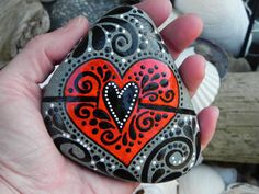 Painted Rock (Sea Stone) from Cape Cod.    A VERY Joyful Heart...tumbled in on ocean waves...    This sea stone is very special.    It has the