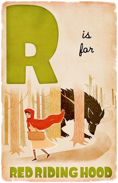 ALPHABET CARD - R is for RED RIDING HOOD - DEREK SULLIVAN
