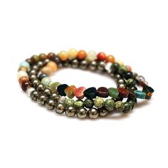 Set of 3 Bracelets, Gemstone Jewelry Gift for Him, Layered Energy Bracelets, Pyrite, Unakite, Amazonite, Jasper Genuine Gemstone Men Jewelry