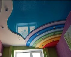 that POP ceiling design is suitable for living rooms and kids room in modern house, the frame and colorful part are made from Plaster of Paris, the other part is a stretch ceiling