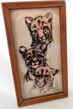 Vintage Reverse Painting Glass Tigers Cubs by CompulsiveNeurons