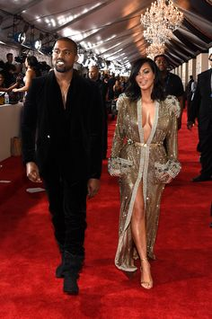 Kanye West and Kim Kardashian on the Grammys 2015 red carpet